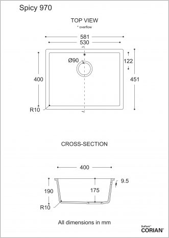 כיור מטבח דגם ספייסי 970